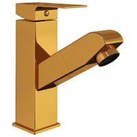 vidaXL Vonios kambario maišytuvas, auksinis, 157x172mm, ištraukiamas