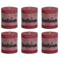 Bolsius Žvakės, 6vnt., vyno raudonos, 80x68mm, cilindro formos
