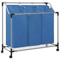 vidaXL Stovas su 3 skalbinių rūšiavimo krepšiais, mėlynas, plienas