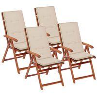 vidaXL Sodo kėdės pagalvėlės, 4vnt., kreminės sp., 120x50x4 cm