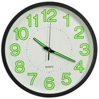 vidaXL Šviečiantis sieninis laikrodis, juodos spalvos, 30cm