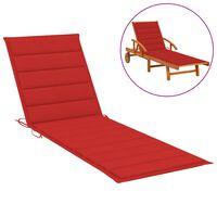 vidaXL Saulės gulto čiužinukas, raudonos spalvos, 200x50x4cm, audinys