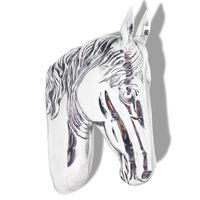 vidaXL Arklio galvos dekoracija, sieninė, aliuminis, sidabro sp.
