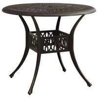 vidaXL Sodo staliukas, bronzinės spalvos, 90x90x74cm, lietas aliuminis