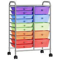 vidaXL Mobilus vežimėlis, 15 stalčių, įvairių spalvų, plastikas, XXL