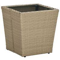 vidaXL Arbatos staliukas, smėlio, 41,5x41,5x44cm, poliratanas/stiklas