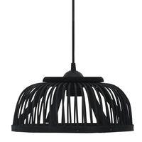 vidaXL Pakabinamas šviestuvas, juodas, 37x15,5cm, bambukas, pusapvalis