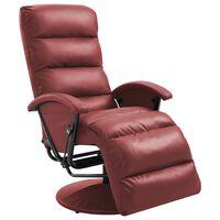 vidaXL Atlošiamas TV krėslas, raudono vyno sp., dirbtinė oda