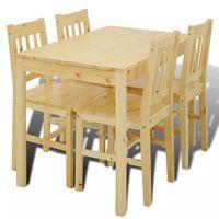 Medinis Valgomojo Stalas su  4 Kėdėmis, Natūralaus Medžio Spalvos