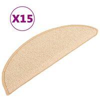 vidaXL Laiptų kilimėliai, 15vnt., kreminės spalvos, 56x17x3cm