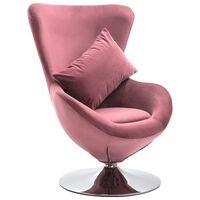 vidaXL Pasukama kėdė su pagalvėle, rožinės spalvos, aksomas