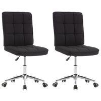 vidaXL Valgomojo kėdės, 2vnt., juodos spalvos, audinys