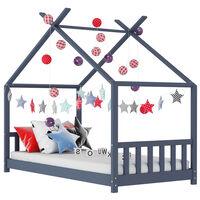vidaXL Kids Bed Frame Grey Solid Pine Wood 70x140 cm