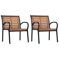 vidaXL Sodo kėdės, 2vnt, juodos ir rudos spalvos, plienas ir WPC