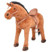 vidaXL Stovintis žaislas žirgas, pliušinis, rudas