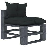 vidaXL Vidurinė sodo sofa iš palečių su antracito pagalvėmis, mediena