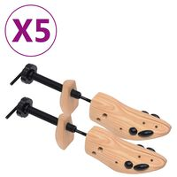 vidaXL Kurpaliai, 5 poros, pušies medienos masyvas, 36-40 dydžio