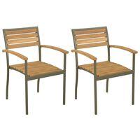 vidaXL Sudedamos lauko kėdės, 2 vnt., akacijos mediena ir plienas