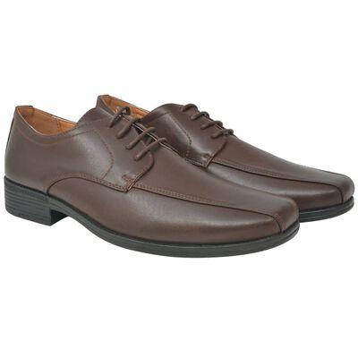 vidaXL Vyriški batai, suvarstomi, rudi, dydis 41, PU oda