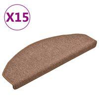 vidaXL Laiptų kilimėliai, 15vnt., rudos spalvos, 65x24x4cm