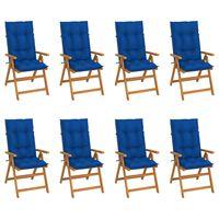 vidaXL Atlošiamos sodo kėdės su pagalvėlėmis, 8vnt., tikmedžio masyvas