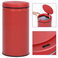 vidaXL Automatinė šiukšliadėžė su jutikliu, raudona, plienas, 60l