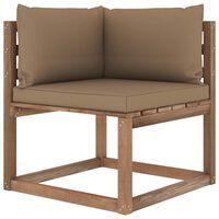 vidaXL Kampinė sodo sofa iš palečių su taupe spalvos pagalvėlėmis