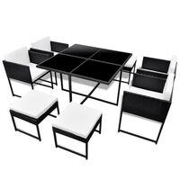vidaXL Lauko valgomojo baldų kompl. su pagalv., 9d., juod., polirat.