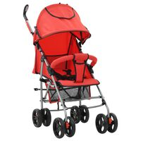 vidaXL Sulankstomas vaikiškas vežimėlis, raudonas, plienas, 2-1
