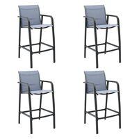 vidaXL Sodo baro kėdės, 4vnt., pilkos spalvos, tekstilenas