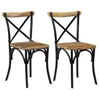 vidaXL Kėdės, 2vnt., juodos, 51x52x84cm, mango masyvas, kryžminis diz.