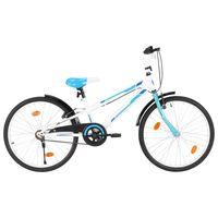 vidaXL Vaikiškas dviratis, mėlynos ir baltos spalvos, 24 colių