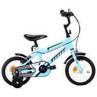 vidaXL Vaikiškas dviratis, juodos ir mėlynos spalvos, 12 colių ratai
