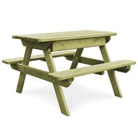 vidaXL Iškylos stalas su suoliukais, 90x90x58cm, pušies mediena