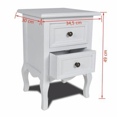 vidaXL Naktiniai staliukai su 2 stalčiais, 2vnt., MDF, baltas