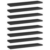 vidaXL Knygų lentynos plokštės, 8vnt., juodos, 40x10x1,5cm, MDP