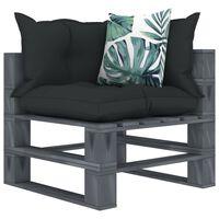 vidaXL Kampinė sodo sofa iš palečių su pagalvėmis, mediena