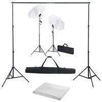 vidaXL Fotostudijos komplektas su fonu, šviestuvais ir skėčiais