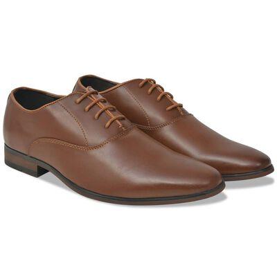 vidaXL Vyriški batai, suvarstomi, rudi, dydis 45, PU oda