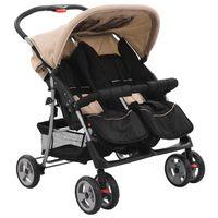 vidaXL Vaikiškas vežimėlis dvynukams, rusva ir juoda, plienas