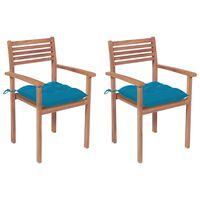 vidaXL Sodo kėdės su šviesiai mėlynomis pagalvėlėmis, 2vnt., tikmedis