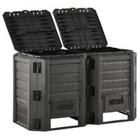 vidaXL Sodo komposto dėžė, juodos spalvos, 800l