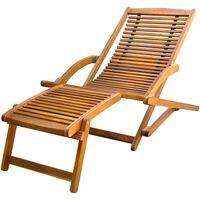 vidaXL Terasos krėslas su atrama kojoms, akacijos mediena