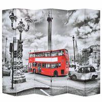 vidaXL Kambario pertvara, 228x170cm, Londono autob., juoda ir balta