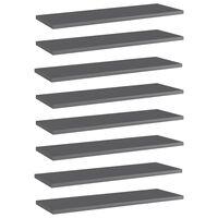 vidaXL Knygų lentynos plokštės, 8vnt., pilkos, 60x20x1,5cm, MDP