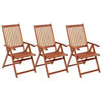 vidaXL Sulankstomos sodo kėdės, 3vnt., akacijos medienos masyvas