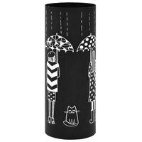 vidaXL Stovas skėčiams, moterų pav., plieninis, juodas