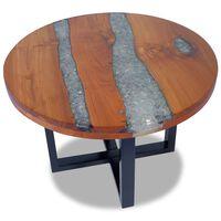vidaXL Kavos staliukas, tikmedis ir derva, 60 cm