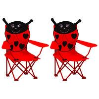 vidaXL Vaikiškos sodo kėdės, 2vnt., raudonos spalvos, audinys