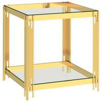 vidaXL Kavos staliukas, auksinis, 55x55x55cm, plienas ir stiklas